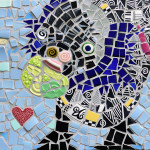 mosaic portrait of Dolly, a dog