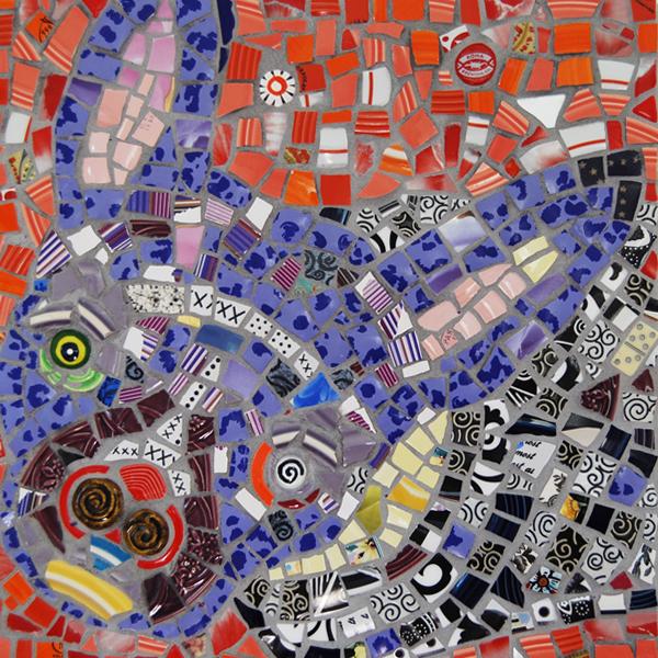 mosaic portrait of Finny, a dog