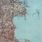 A vintage map and encaustic painting
