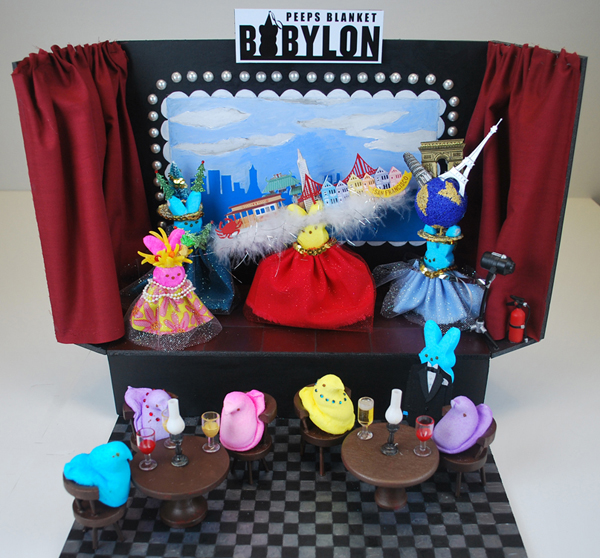 "A diorama of the musical ""Beach Blanket Babylon"" made with candy peeps."