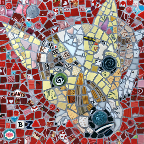 A mosaic of a dog named BZ
