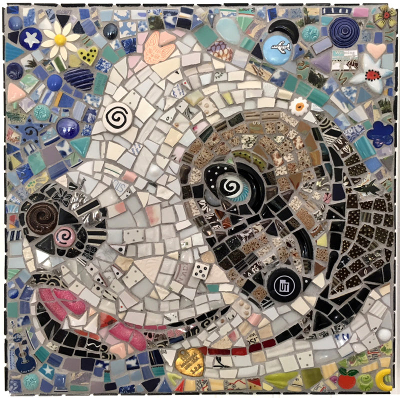 mosaic portrait of Bently, a dog