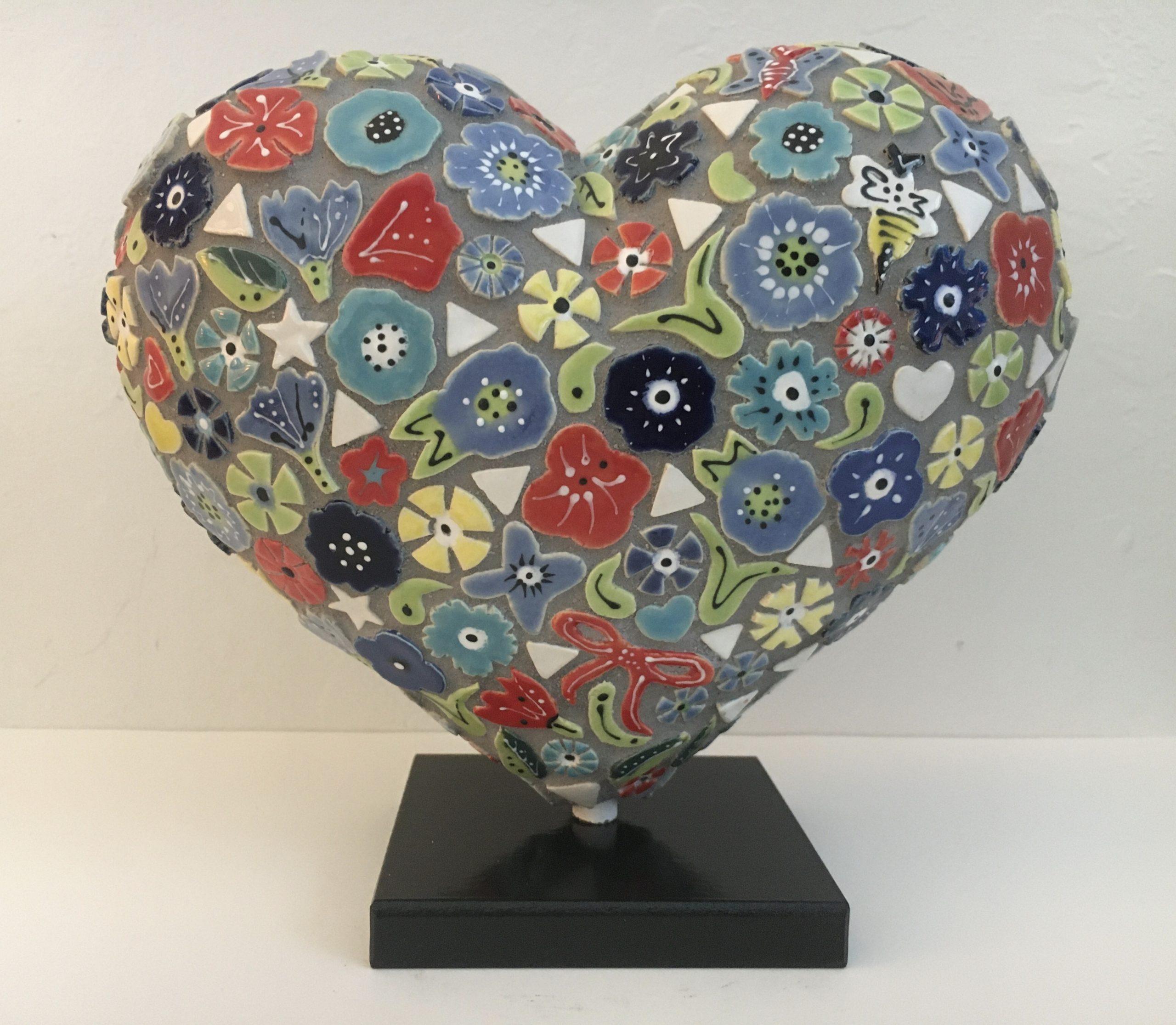 mosaic heart sculpture